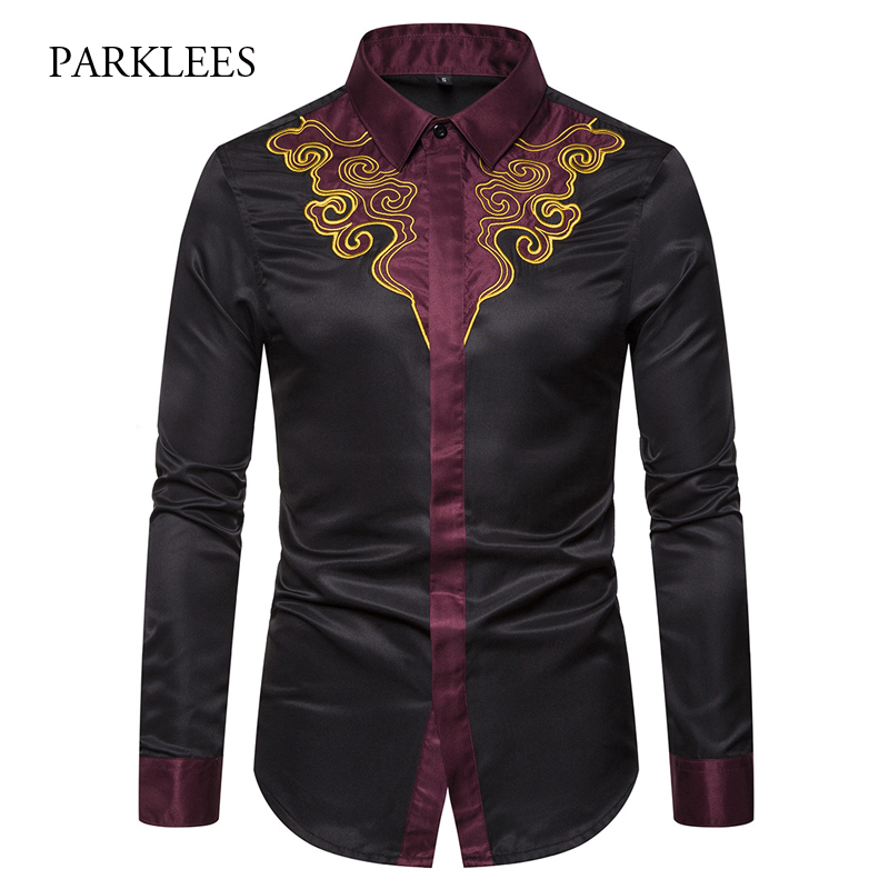 2019 Mens Embroidery Shirts Brand Contrast Patchwork Floral Shirt Men Cowboy Dress Shirts Chemise Homme Slim Fit Camisa Hombre