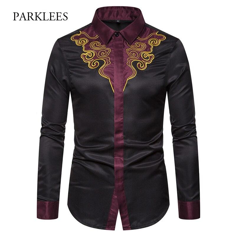 2019 Mens Embroidery Shirts Brand Contrast Patchwork Floral Shirt Men Cowboy Dress Shirts Chemise Homme Slim Fit Camisa Hombre