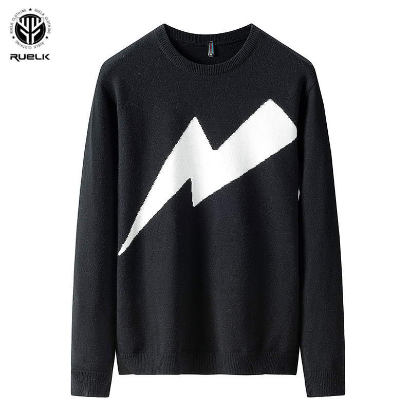 RUELK 2019 Autumn Casual Men's Sweater O-Neck Lightning Slim Fit Knittwear Mens Sweaters Pullovers Pullover Men Pull Homme M-3XL