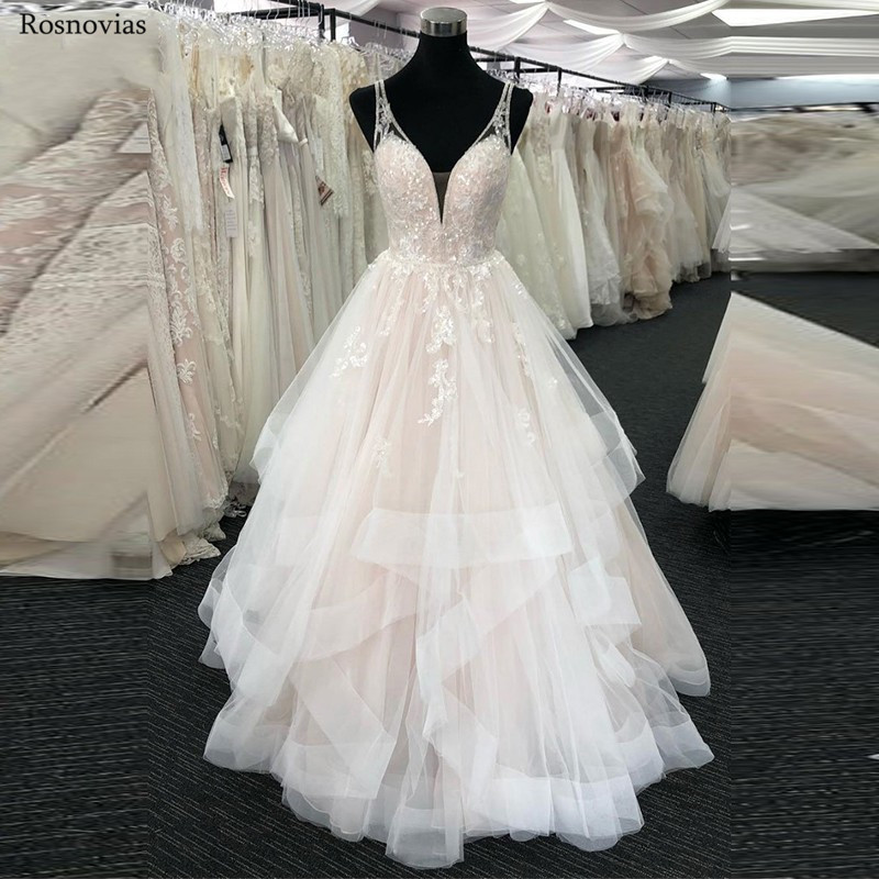 Charming Tiered Skirts Wedding Dresses 2019 V Neck Backless Sweep Train Lace Appliques Beaded Modest A Line Bridal Gown Custom