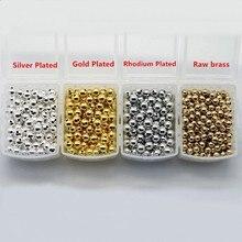 100 pces 2-2.5-3-4-5-6-8-10-12mm ródio ouro prata chapeado contas de metal cobre liso contas redondas diy jóias acessórios