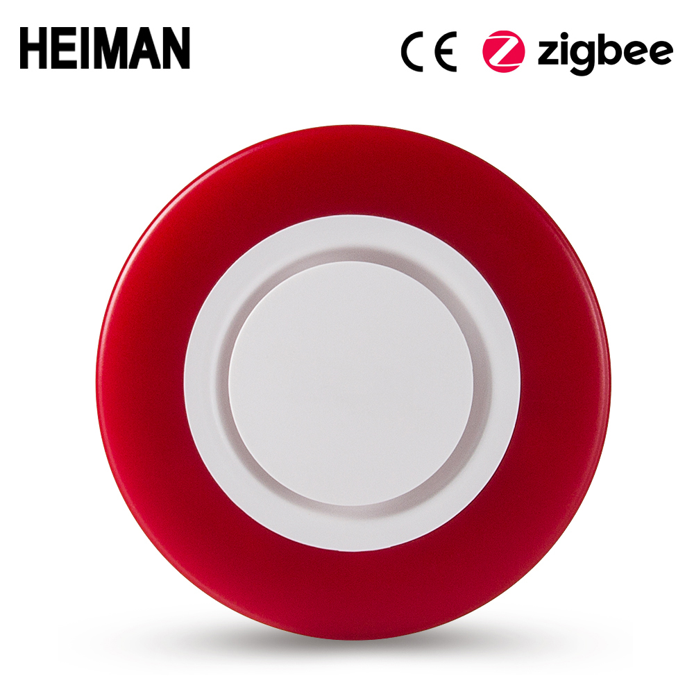 heiman zigbee 3 0 inteligente strobe flash sirene chifre alarme som com 95db grandes sons para