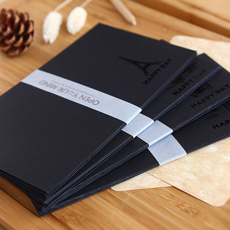 5Pcs/set Hot Sale ALL Black Bronzing Elegant Envelope For Post Card/letter Paper Bus/towel/telephone Booth/towel Bridge