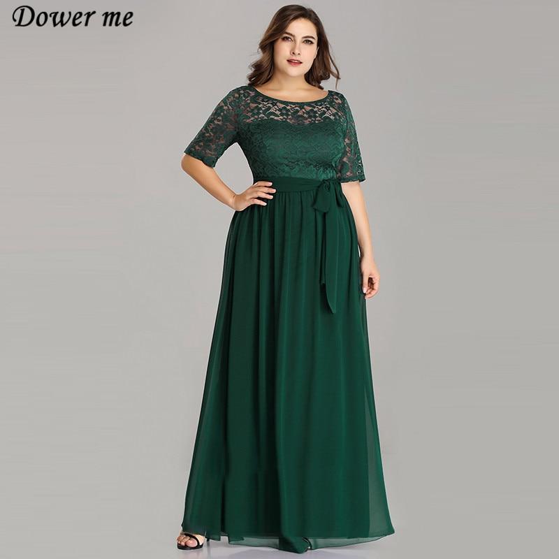 Dower Me robe 2019 été vert mode o-cou parole longueur a-ligne robes élégant dentelle demi manches Vestidos grande taille C331