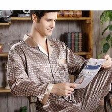 Пижама комплект высокое качество шелк пижама для мужчин сна топы брюки два предмета длинные рукава одежда для сна атлас комплект большие размеры пижамы