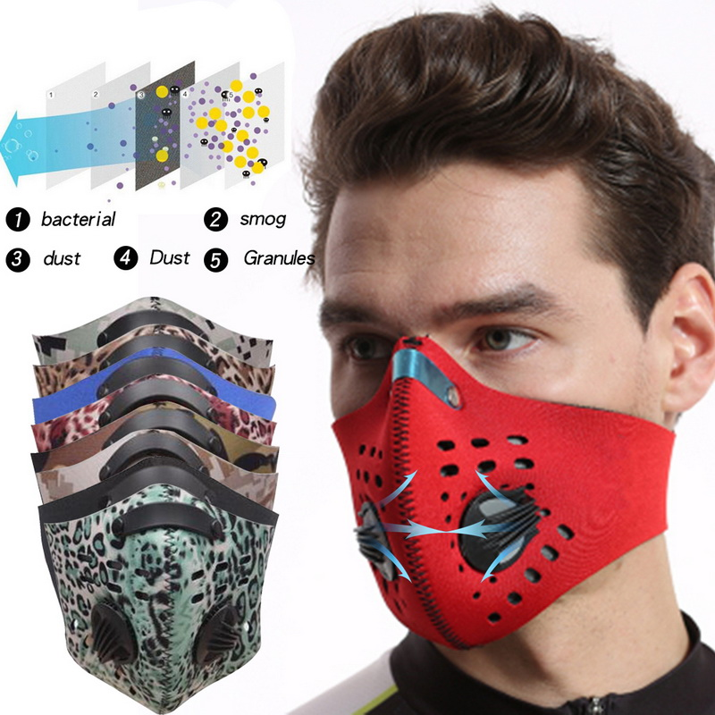 Mask PM2.5 Coronavirus Protective Dust Mask Activated Carbon With Filter Anti-Pollution Cycling Sport Bicycle MTB Bike Face Mask