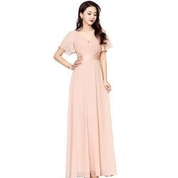 Элегантное шифоновое платье трапециевидной формы с короткими рукавами для подружки невесты 2020, плиссированное платье для свадебной
