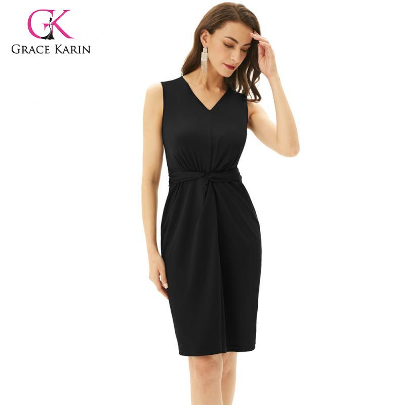 GRACE KARIN Summer Vintage Party Dress for Women Sleeveless V-Neck Work Casual Plaid Bodycon Dress