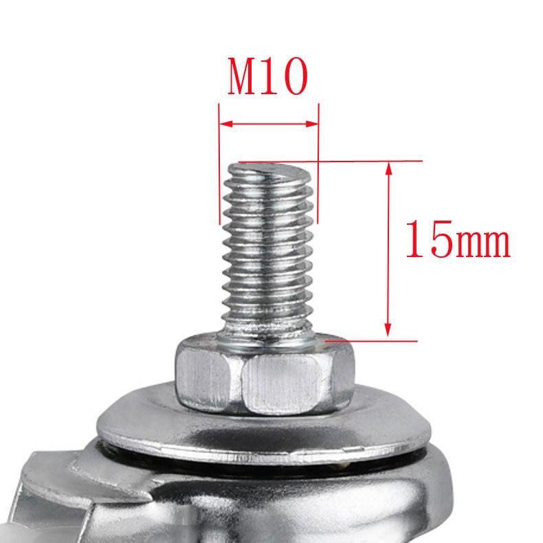 5 pçs/lote rodízios 2 Polegada luz preto pp móvel parafuso rodízio m10 mobiliário elétrico roda universal-2