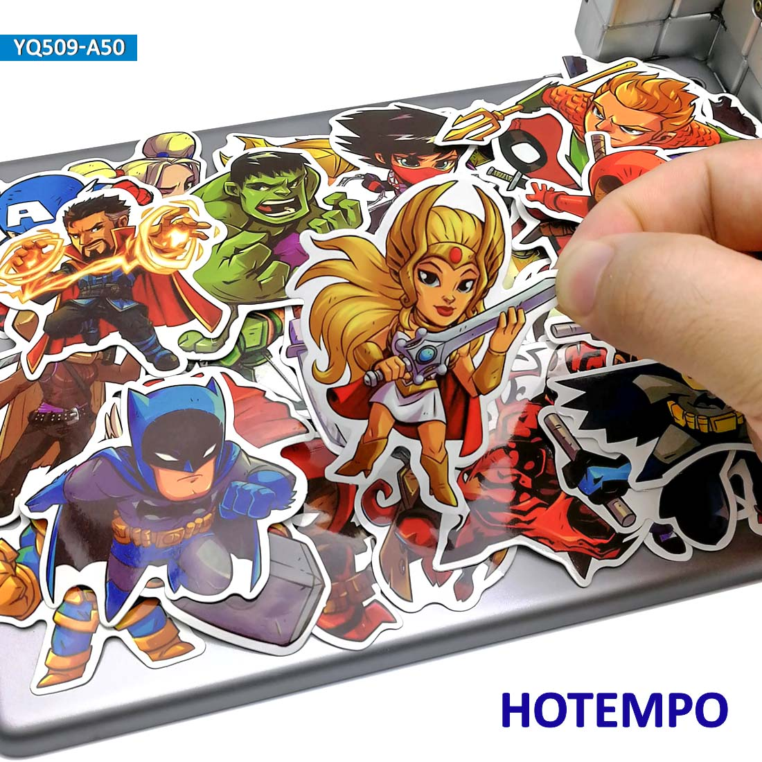 50pcs Cute Super Hero Cartoon Stickers For Mobile Phone Laptop Luggage Suitcase Skateboard Bike PVC Waterproof Decal Stickers