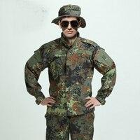 Vender Ejército alemán WOODLAND CAMO traje ACU BDU militar camuflaje conjuntos de traje de CS de combate de Paintball táctico uniforme chaqueta y pantalones