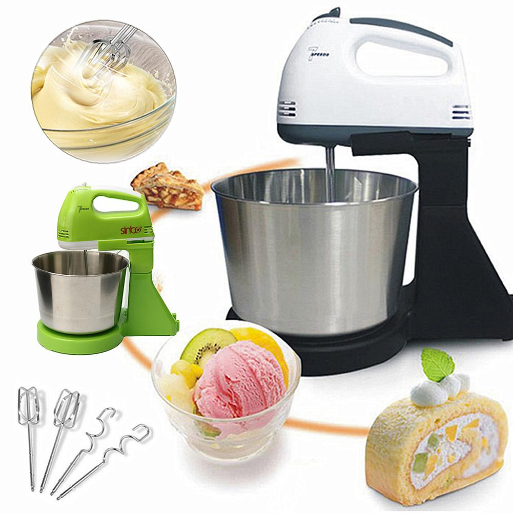 Portable Multifunctional 7  Electric Food Cake Egg Dough Handheld Stand Mixer With 1.7L Bowl Kitchen Baking Tools