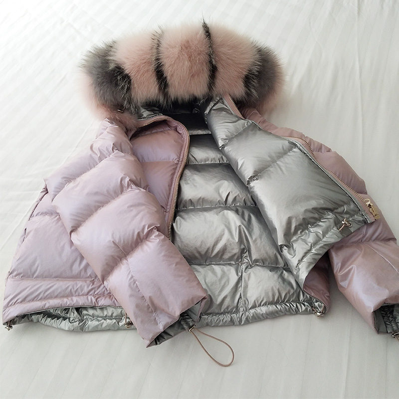 Ailegogo Women Double Sided Bread Hooded White Duck   Down     Coat   Big Fur Collar Winter Snow Warm Thickness Parkas Outwear Tops