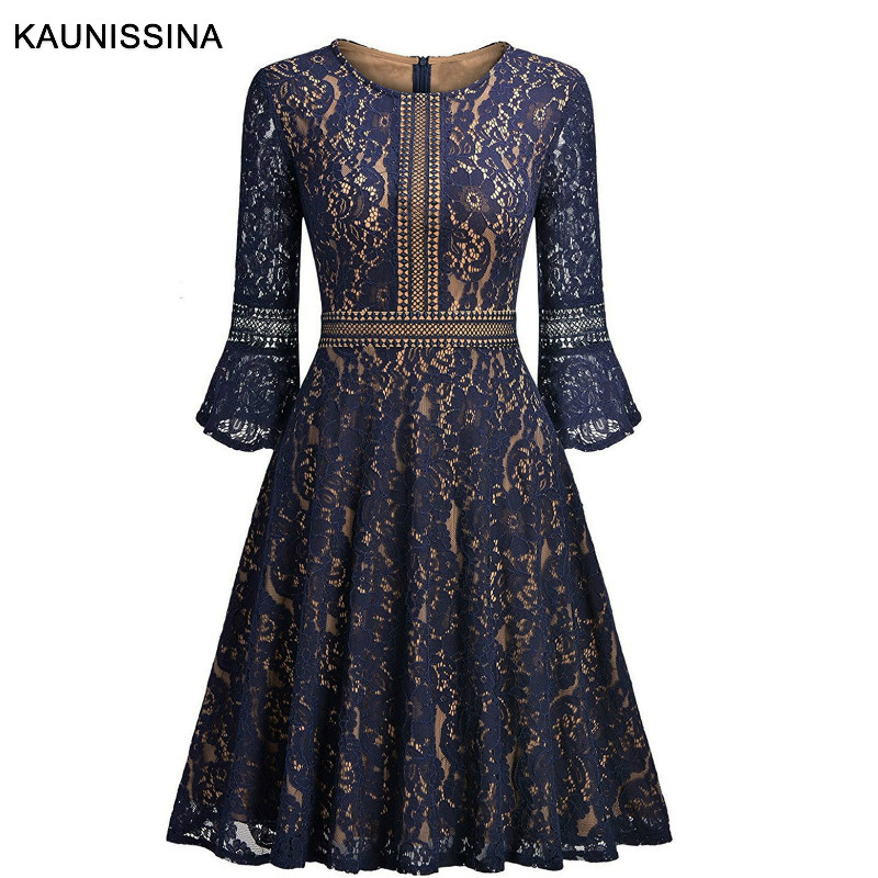 KAUNISSINA Women's Vintage Full Lace   Cocktail     Dress   Spring Autumn Flare Sleeve A-Line Party Gown Ladies Homecoming   Dresses