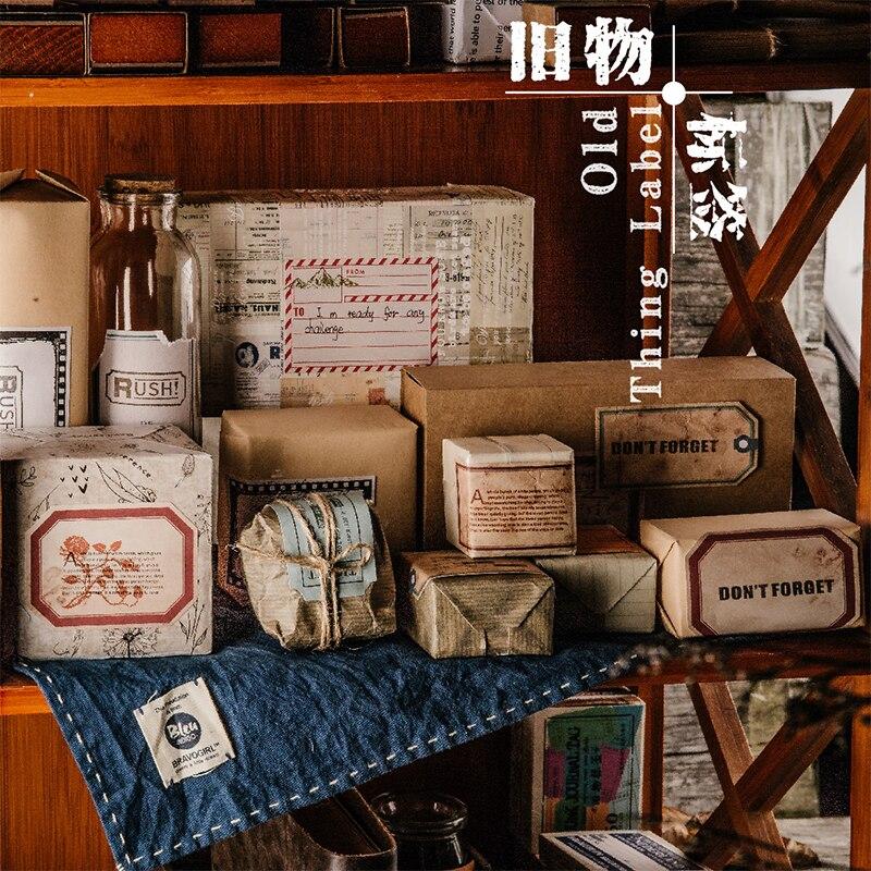 50 pcs/box vintage label stamp decoration paper sticker decoration DIY album diary scrapbooking deco