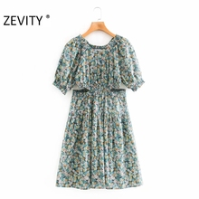ZEVITY New Women fashion flower print hollow out pleats Dres