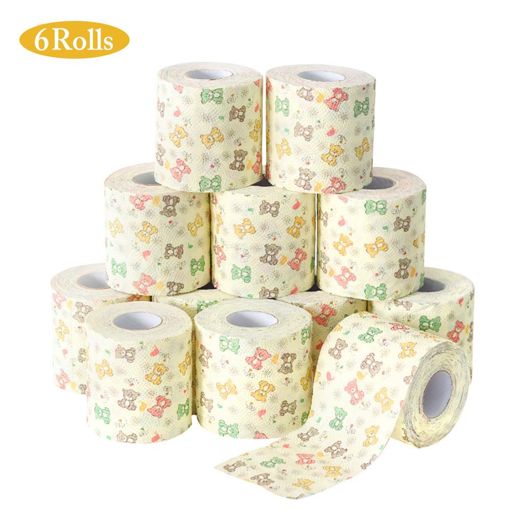 6Rolls Degradable Silky Smooth Soft Flower Printed Paper Toilet Tissues Roll Toilet Paper Novelty Toilet Tissue Wholesale