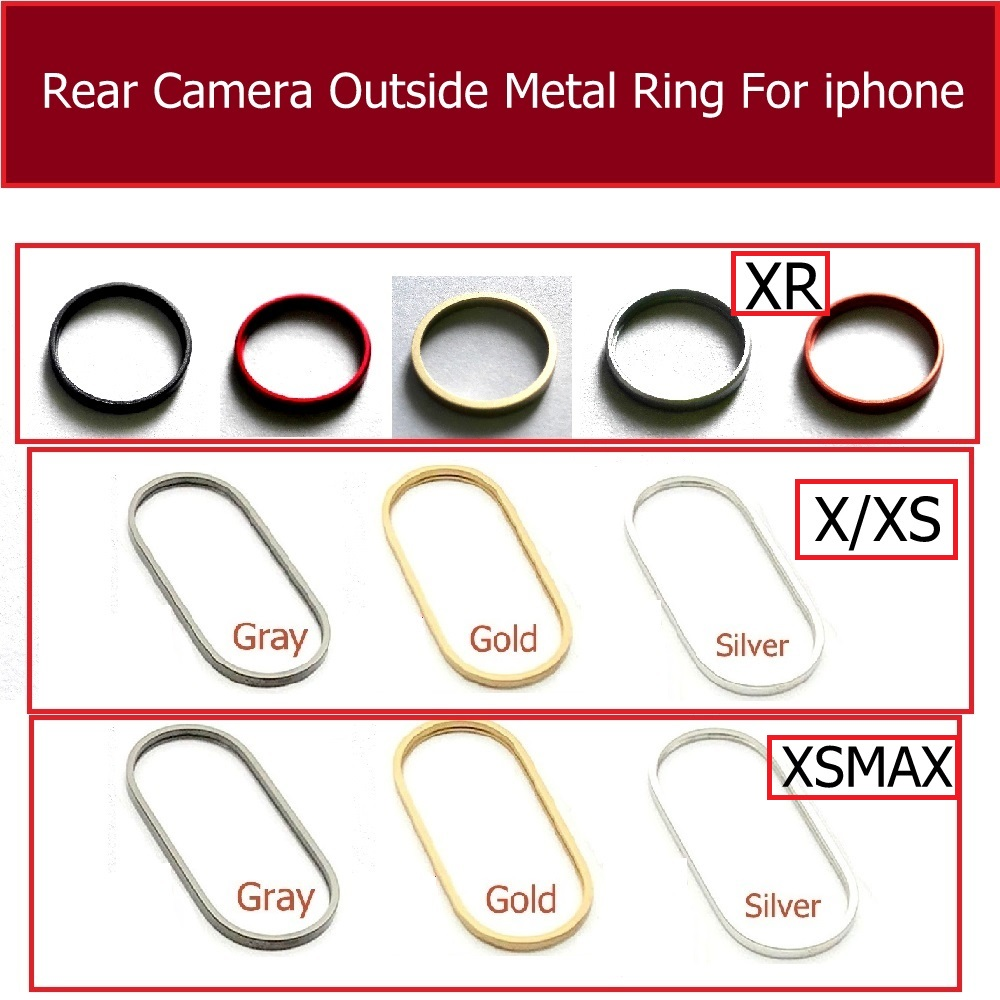 Rear Camera Outside Metal Ring Frame Cover For Iphone X Xs Xr Xs Max Plus Back Main Camera Ring Bezel Bumper Replacement Parts