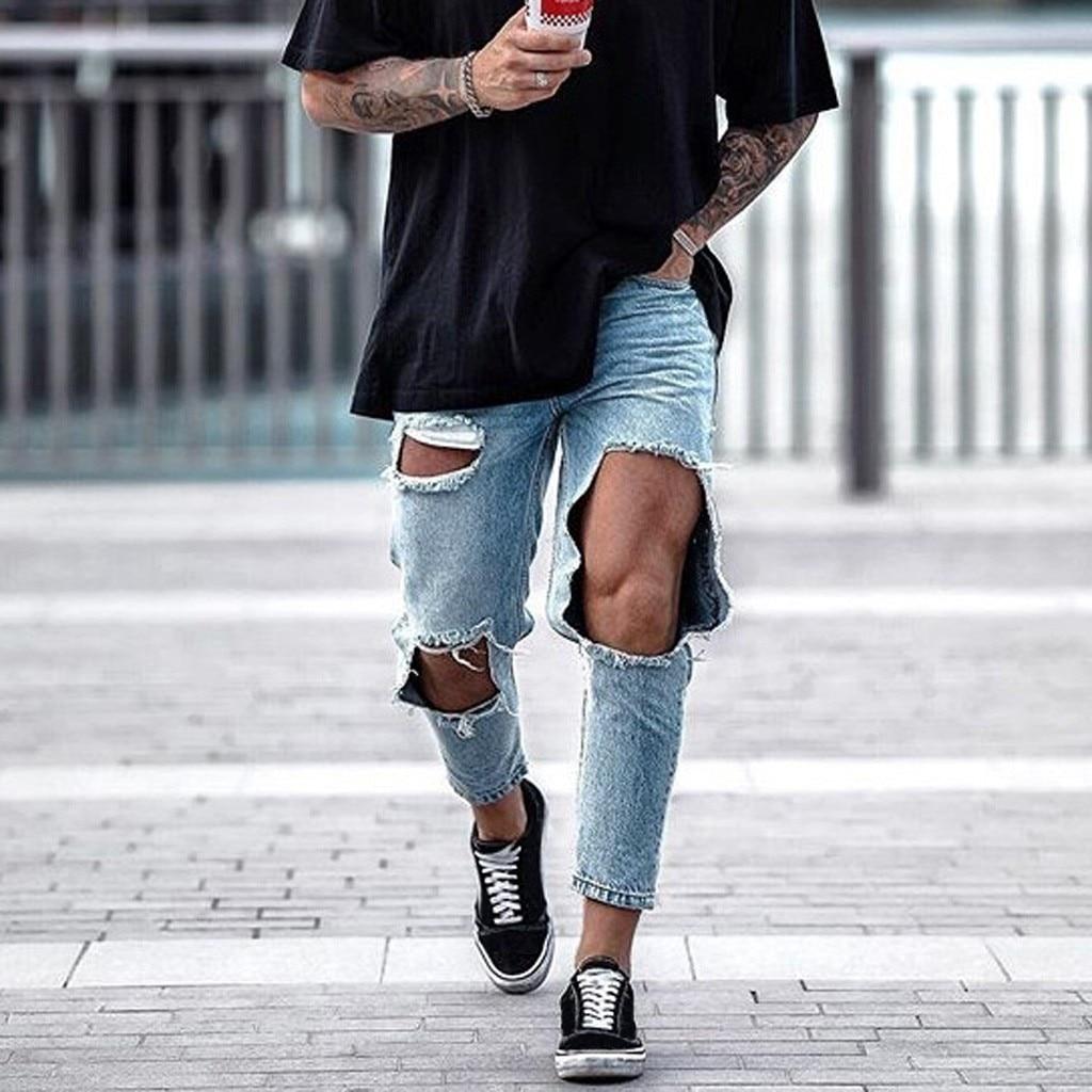 Trendy Men Skinny Jeans Biker Destroyed Frayed Fit Denim Ripped Denim Pants Pencil Pants Hip Hop Streetwear 7.12