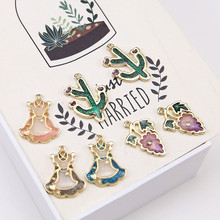 2019 fashion alloy dripping fairy skirt cactus small flower pendant  statement earrings for women material jewelry accessories