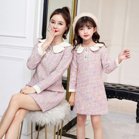WLG family matching clothes mom and daughter dress autumn colorful plaid woolen long sleeve cute dresses