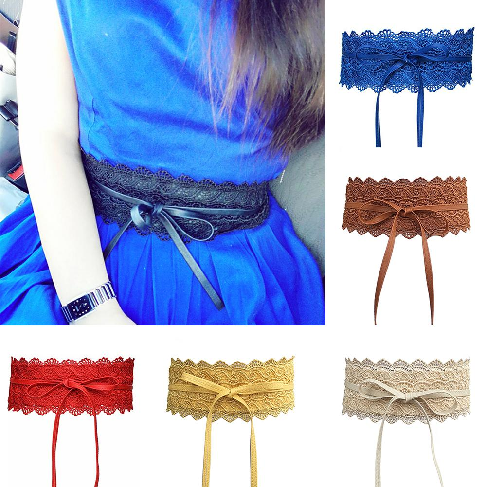 Fashion Women Dress Bowknot Faux Leather Lace Wide Decor Belt Girdle Waist Band Make Your More Charming And Attractive Gifts