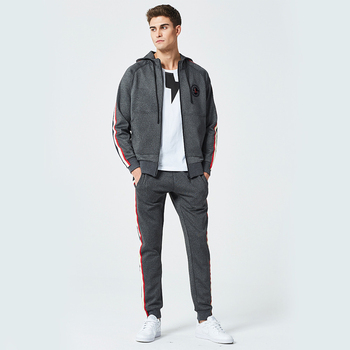 Mens Tracksuits 2021 Spring Autumn Clothes Stripe Zipper Hooded Jogging Suits 2 Piece Sweatpants And Hoodie Sportswear Plus Size