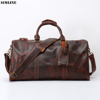 Genuine Leather Travel Bag For Men Vintage Cowhide Large Capacity Male Tote Handbag Big Shoulder Hand Luggage Duffel Bags Male