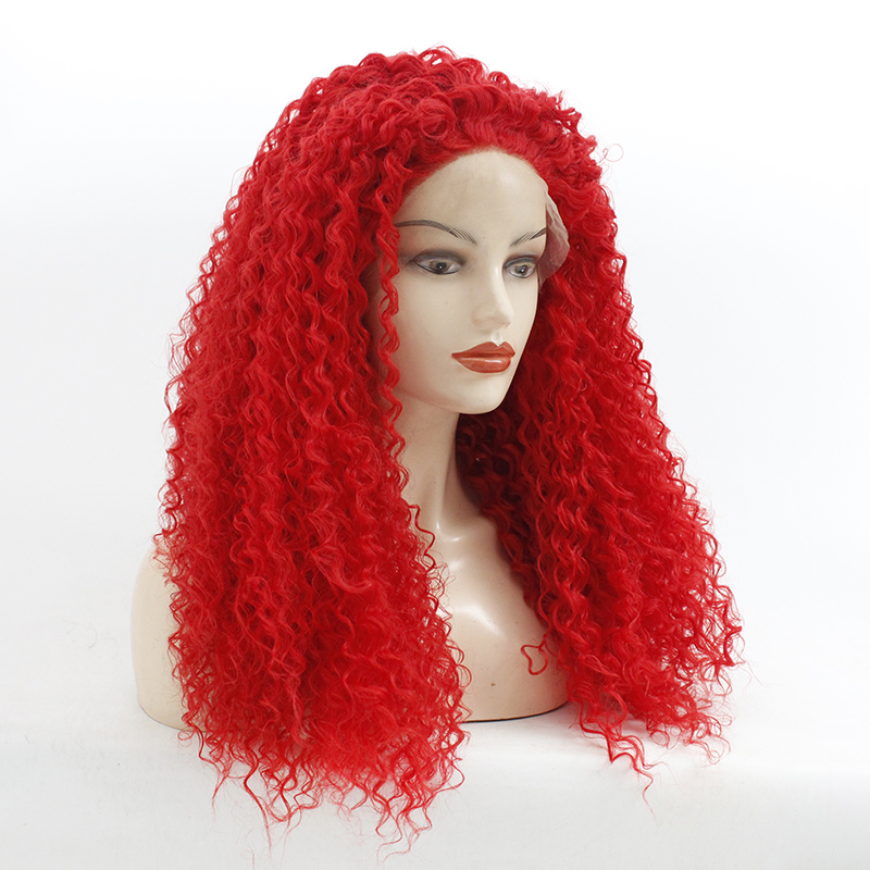 180%Density Afro Kinky Curly Lace Wig Red Color Synthetic Lace Front Wigs Heat Resistant Glueless Full Wigs For Black Women