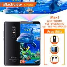 """Blackview 最大 1 6.01 """"プロジェクター携帯電話 6 ギガバイト + 64 ギガバイト fhd amoled アンドロイド 8.1 ポータブルホームシアター映写機 4 3g スマートフォン"""