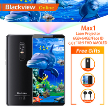 "Blackview สูงสุด 1 6.01 ""โปรเจคเตอร์โทรศัพท์มือถือ 6GB + 64GB FHD AMOLED Android 8.1 โฮมเธียเตอร์แบบพกพาโปรเจคเตอร์สมาร์ทโฟน 4G"