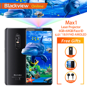 """Image 1 - Blackview MAX 1 6.01"""" Projector Mobile Phone 6GB+64GB FHD AMOLED Android 8.1 Portable Home Theater Movie Projector 4G Smartphone"""