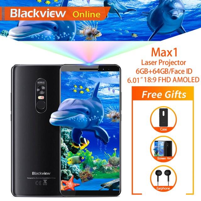 """Blackview MAX 1 6.01 """"projektör cep telefonu 6GB + 64GB FHD AMOLED Android 8.1 taşınabilir ev sineması film projektör 4G akıllı telefon"""