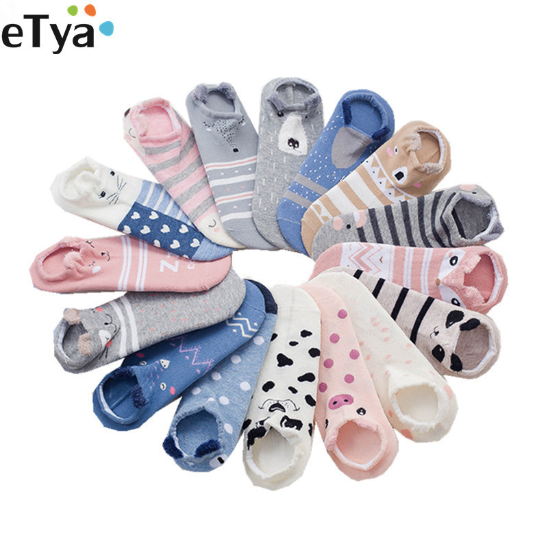 ETya Women Girl Low Ankle Socks Cartoon Cute Cotton Cat Dog Ear Animal Style Short Socks Female Casual Soft  Boat  Sox