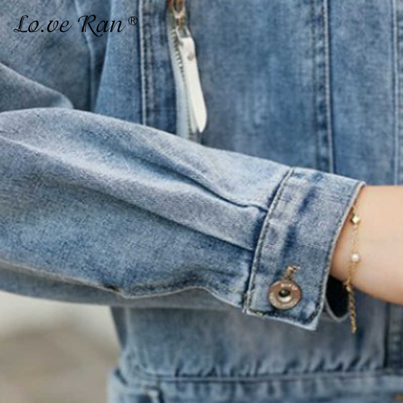 Herbst Baumwolle frauen Denim Kurze Jacke Elegante Zipper Langarm Lose Demin Mäntel Weibliche 2020 Frühling Mode Damen Kleidung