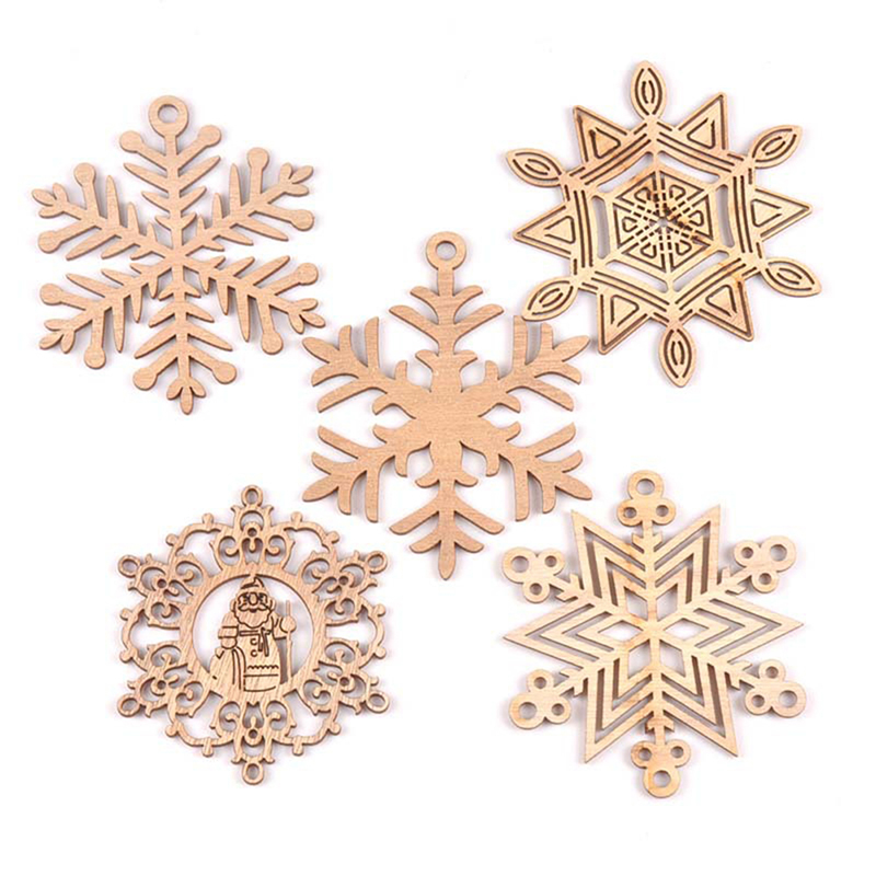 Mixed Carved Christmas Snowflake Cutouts Wood DIY Crafts Wooden Home Decoration