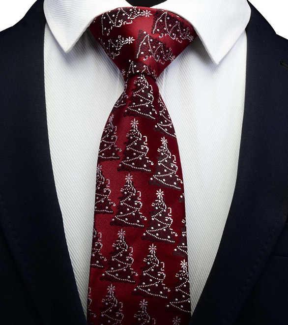 عيد الميلاد العلاقات للرجال رباط العنق الحريري رابطة عنق الكلاسيكية لمهرجان هدية الرجال الموضة الجدة ربطة العنق 8 سنتيمتر شجرة حمراء خضراء ندفة الثلج