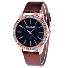 Brown / red / blue / white / black ladies fashion simple diamond crocodile belt quartz watch -1(China)