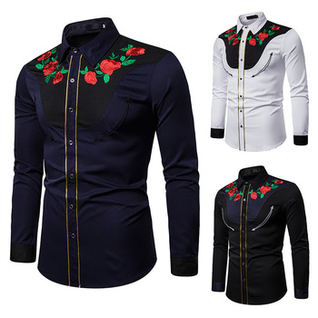 Men's Fashion Embroidered Shirt Western Style Shirts Rose Embroidered Long Sleeve Shirt For Men Floral Clothes floral embroidered yoke overlap back top