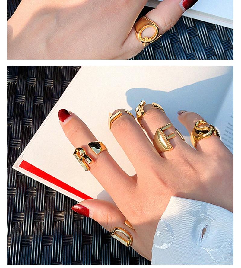 SRCOI полые A-Z буквы позолоченный металл регулируемое Открытое кольцо инициалы имя Алфавит Женская Вечеринка персонализированные вечерние ювелирные изделия