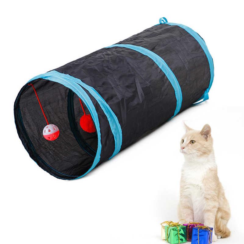 애완 동물 고양이 터널 2 구멍 놀이 튜브 공 Collapsible Crinkle 동물 애완 동물 고양이 장난감 강아지 흰 족제비 토끼 놀이 개 터널 튜브