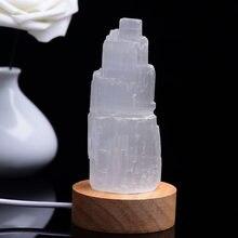Natural selenita gesso cilíndrico torre spar escultura moderno marroquino cristal ornamentos de minério estatueta artesanato decoração para casa recolher