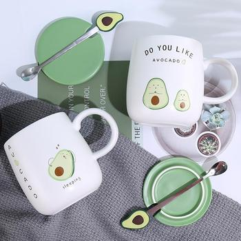 Mugs Coffee Cup Ceramic Creative Color Avocado Heat-resistant Mug Cartoon with Lid 450ml Kids Office Home Drinkware Gift