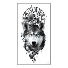 Clock Compass Tattoos Wolf Temporary-Tattoo-Sticker Flash Body-Art-Arm Lion Blue Waterproof