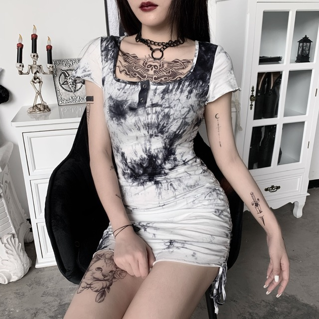 Sexy Sundresses Women Goth Dark Gothic Tie Dye Fashion Bandage Square Neck With Button 2021 Summer Dresses High Waist Clubwear 3