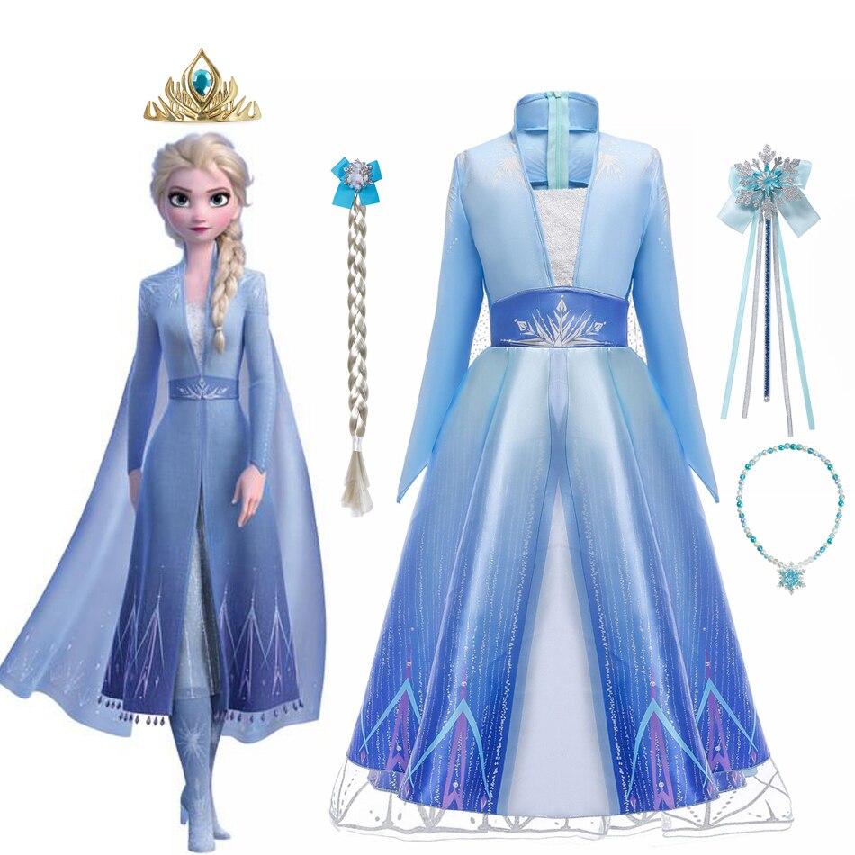 Платье для девочек «холодная Снежная королева», маскарадный костюм принцессы Анны, Эльзы, 2 шт., Детские наряды, маскарадный костюм Диснея