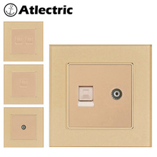 Atlectric Glass Panel Rj45 Wall Socket Internet Socket Computer PC TV Data Interface Socket Tempered Glass Panel Outlet Plug