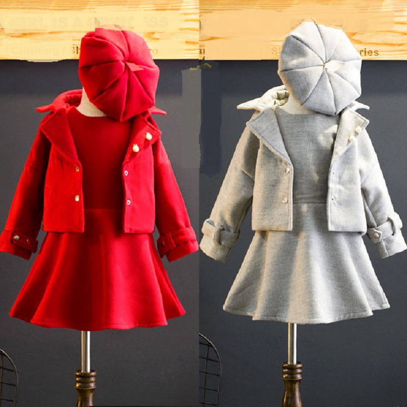 2-10 Year Children Clothing Girls Tracksuits Red Coat Dress Hat 3 PCS Sets Girl Clothing Set for Christmas Party Kids  Clothes