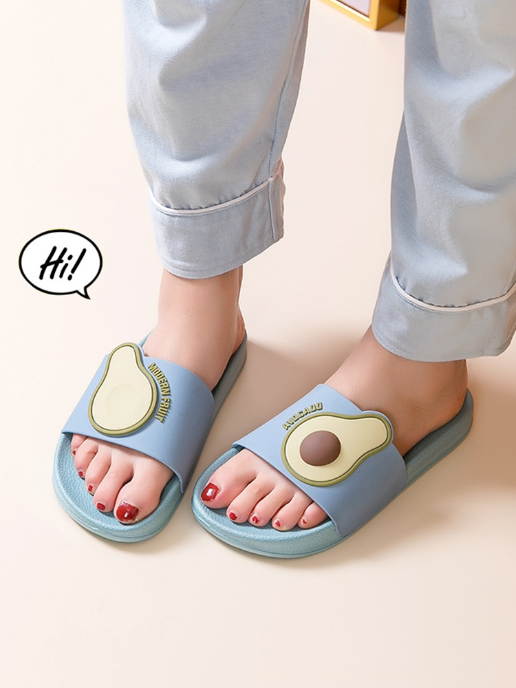 Couple Shoes Pvc Slippers Fruit Avocado Non-Slip Bathroom Ladies Slides Wholesale Cartoon