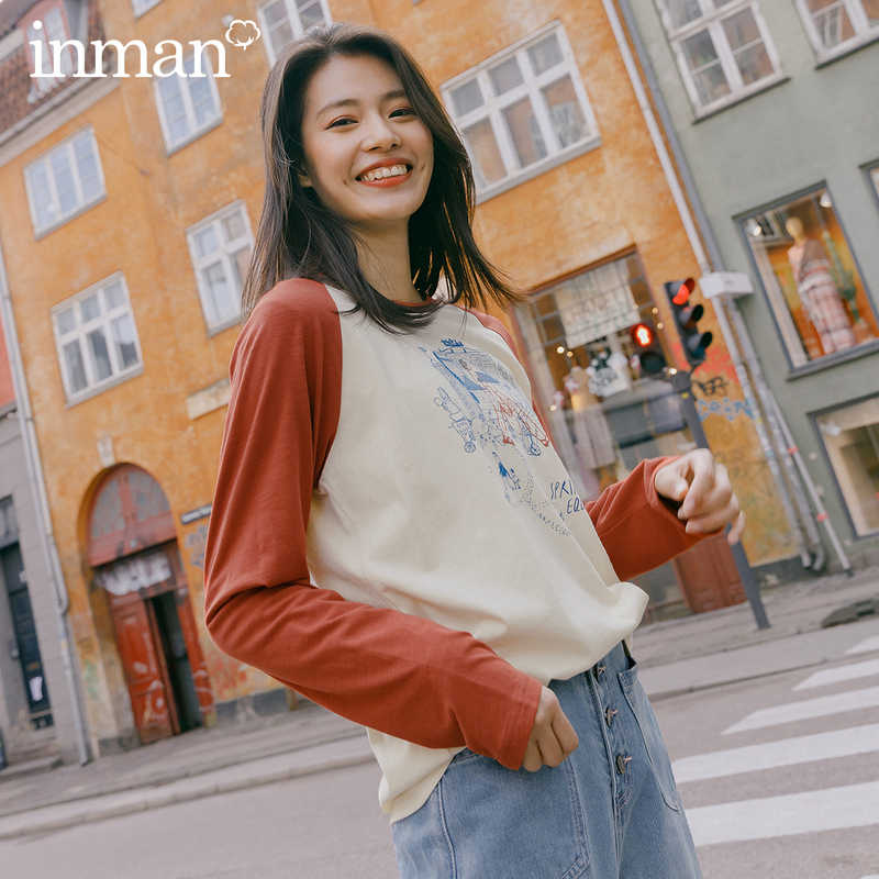 INMAN 2022 Spring New Arrival Literary Cotton Color Matching Printed Sport Grilish Leisure Long Sleeve T-shirt